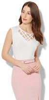 New York & Co. 7th Avenue - Lattice-Trim Cap-Sleeve Top - White