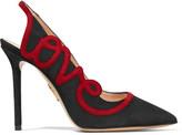 Charlotte Olympia Love Appliquéd Suede Slingback Pumps - Black