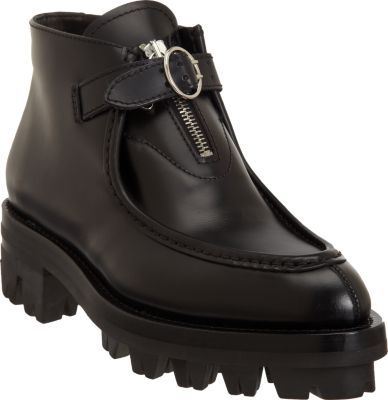 Prada Buckle-Front Seamed Ankle Boot