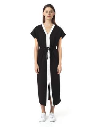 Off-White AMIE New York Women's V-Neck Short Sleeve Drawstring Relaxed Fit Long Dress Offwhite Small