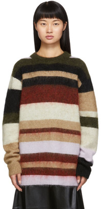 Acne Studios Green and Red Oversized Striped Sweater