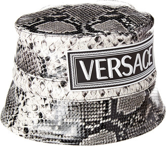 Versace Snake-Embossed Leather Bucket Hat