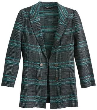 Misook Button Trim Plaid Knit Jacket