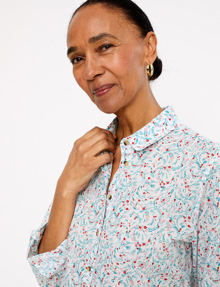 Marks and Spencer Pure Cotton Ditsy Floral Relaxed Shirt