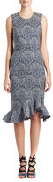 Erdem Louisa Sleeveless Flare-Hem Dress, Gray/Blue