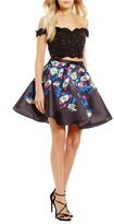 Ellie Wilde Off-The-Shoulder Lace Top to Floral Skirt Two-Piece Dress