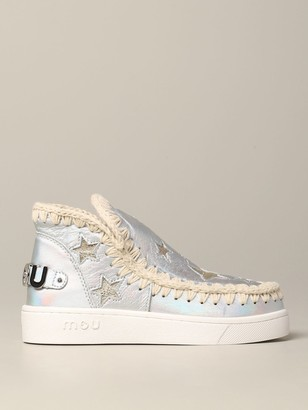 Mou Flat Booties Stars Eskimo Sneakers In Laminated Leather With Stars