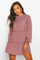 boohoo Petite Frill High Neck Floral Smock Dress