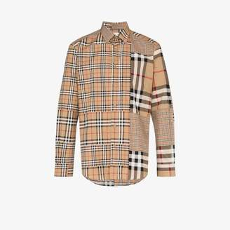 Burberry Check patchwork buttoned shirt