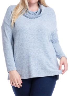 Fever Plus Size Cowlneck Hooded Sweatshirt