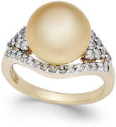 Macy's Cultured Golden South Sea Pearl (11mm) and Diamond (5/8 ct. t.w.) Ring in 14k Gold