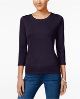 Charter Club Petite Three-Quarter-Sleeve Top, Only at Macy's