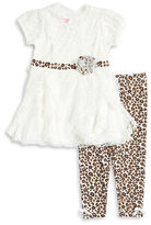Nannette Girls 2-6x Puff Sleeve Lace Dress and Leggings Set