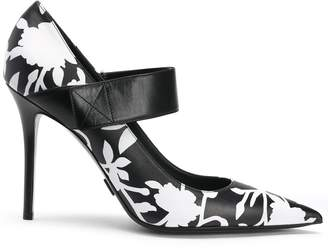 Michael Kors Floral-print Leather Mary Jane Pumps