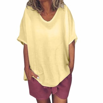 TWIFER Women Casual Summer Solid O-Neck Cotton and Linen Loose Fit Short Sleeves Plus Size Top T-Shirt Blouse T-Shirt Tee Top Jumper (Yellow UK-22/CN-XL)