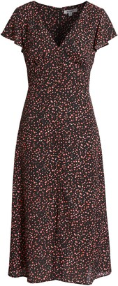 BB Dakota Heavy Petals Artsy Confetti Midi Dress