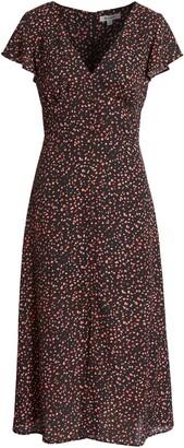 BB Dakota Heavy Petals Artsy Confetti Midi Dress