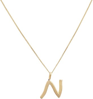 Lily Flo Jewellery 14K Solid Gold Letter N Pendant Necklace