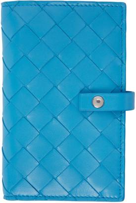 Bottega Veneta Blue Intrecciato Medium French Wallet