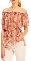 French Connection Malika Printed Chiffon Off-the-Shoulder Blouse