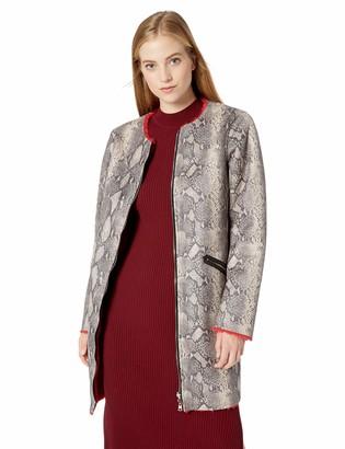 GUESS Women's Long Sleeve Marcia Faux Snake Skin Coat