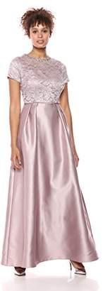 Ignite Women's Ss Glitter Lace and Mikado Ballgown