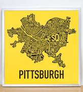 "Ork Posters Pittsburgh Neighborhoods Map,Yellow & Black, 18"" x 18"" in Silver Frame"