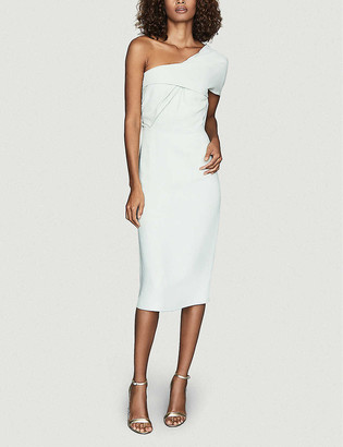 Reiss Riana one-shoulder stretch-woven midi dress