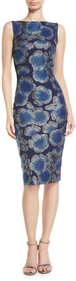 Chiara Boni Derya Sleeveless Mosaic Floral-Print Dress
