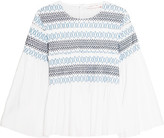 See by Chloe Smocked Cotton-poplin Top - White