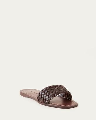 Loeffler Randall Joey Woven Leather Slide Chocolate