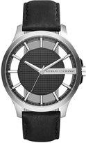 Armani Exchange A|X Men's Black Leather Strap Watch 46mm AX2186