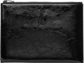 Saint Laurent Black Patent Monogram Zipped Tablet Holder