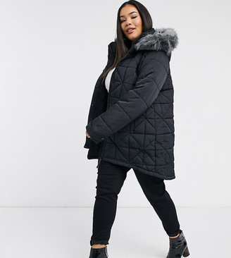 Urban Bliss Plus parka with faux fur hood in black