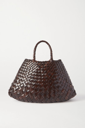 DRAGON DIFFUSION Santa Croce Small Woven Leather Tote - Dark brown