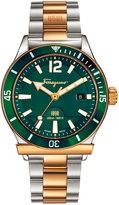 Salvatore Ferragamo 43mm 1898 Sport Men's Two-Tone Bracelet Watch, Green