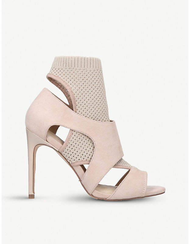 50787b38c1e Nude Ace Suede Sock-Fit Heeled Sandals
