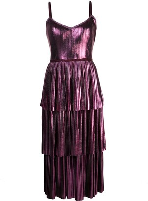 Marchesa Notte Pleated Midi Dress
