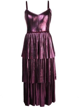 Marchesa Pleated Midi Dress