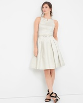 White House Black Market Silver Metallic Jacquard Fit-and-Flare Dress