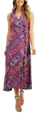 Calvin Klein Mosaic-Print Faux-Wrap A-Line Maxi Dress