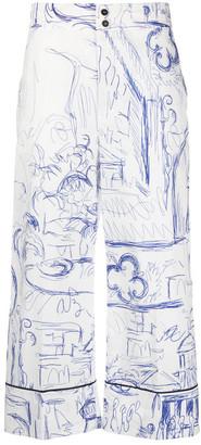Erika Cavallini Printed Cotton Cropped Trousers