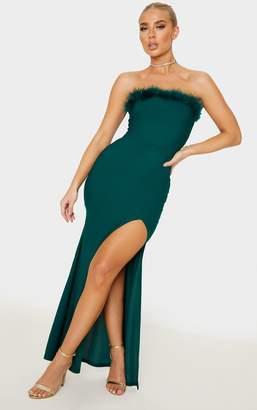 PrettyLittleThing Emerald Green Feather Trim Bandeau Maxi Dress