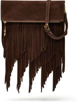 Elizabeth and James Andrew Suede Fringe Clutch Bag, Chocolate