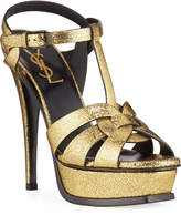 Saint Laurent Tribute Metallic Platform Sandals