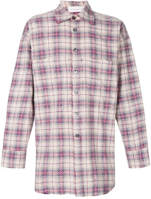 Faith Connexion Checked Studded Oversize Shirt