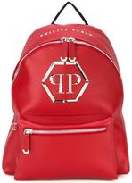 Philipp Plein logo plaque backpack - men - Calf Leather/Polyester/Metal (Other) - One Size