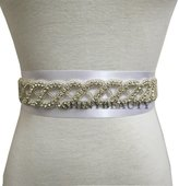 ShinyBeauty Crystal Bridal Sash,Wedding Sash Belt,Jeweled Gown Belt