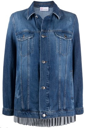 RED Valentino Pleated Back Denim Jacket