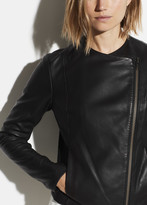 Rib Panel Leather Jacket